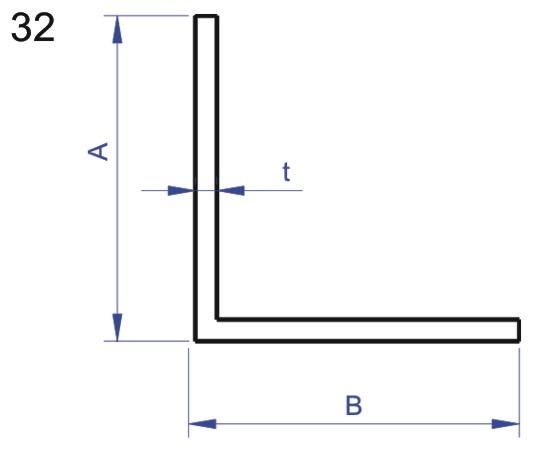 Rohový profil L 30x30 mm délka 2,5m