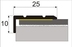 Cena za kus: Schodová hrana 25x10mm samolepící dekor kov 120cm, Dekor Zlatá 00